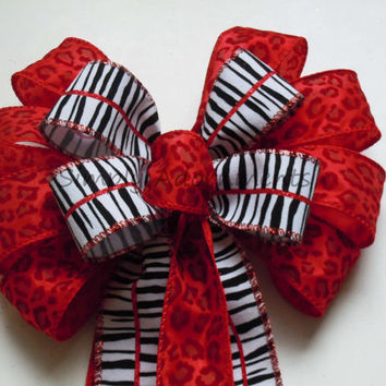 Animal Leopard Zebra Wedding Bow Red Black White Jungle Wedding Bow Birthday Shower Animal Themed Party Decoration Leopard Zebra Gift Bow
