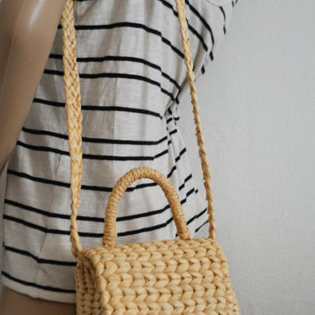 Free Ship Woven Wicker Purse Shoulder Bag