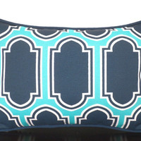 Blue geometric outdoor pillow 16x12, patio pillow  mosaic tile, small chair pillow Adirondack chair, blue and turquoise outdoor cushion