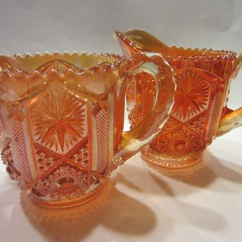 Marigold Imperial Creamer Sugar Pressed Carnival Glass