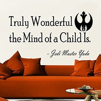 Wall Decals Quotes Vinyl Sticker Decal Quote Star Wars Jedi Master Yoda Truly Wonderful the Mind of a Child Is Home Decor Art Bedroom Design Interior C50
