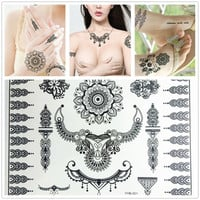 Black Lace Tattoos Face Body Paint Henna Ink Body Painting Make Up Halloween Party Fashion Stickers Waterproof Body Art Tattoo