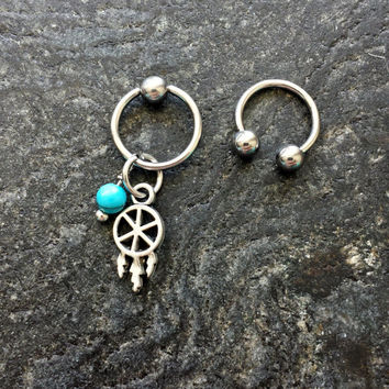 Dreamcatcher & Turquoise Stone - 20g 18g 16g 14g CBR / BCR Bead Captive Ring Piercing Jewelry Hoop ( Helix Tragus Orbital )