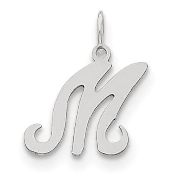 Sterling Silver Stamped Initial M Charm QC4163M