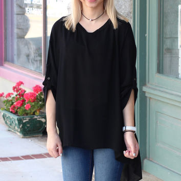 Lace Up + Tied Up Back Blouse {Black}