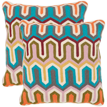Safavieh Home Furniture PIL552A-2020-SET2 Stenciled Arrow 20-Inch Multi Decorative Pillows - Set of Two