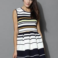 Texture Stripes Sleeveless Dress