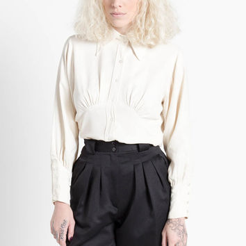 Vintage 70s Ivory Silky Blouson Blouse with Pointed Collar | M
