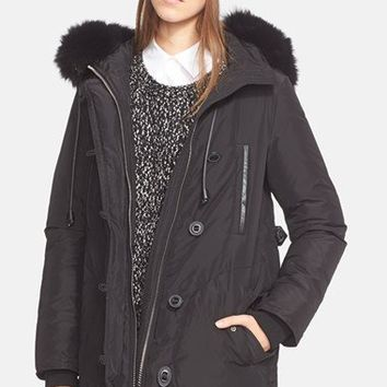 Vince Hooded Parka with Genuine Fox Fur Trim | Nordstrom