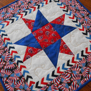 Patriotic Table Topper - Quilted Table Topper - Red White and Blue - July 4th Table Decor - Square Table Topper - Stars and Stripes