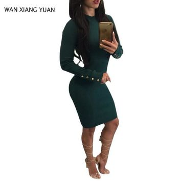 WAN XIANG YUAN Women Sweater Dress 2017 Autumn Sexy O Neck Bodycon Midi Dresses With Long Sleeves Sheath Backless Party Dresses