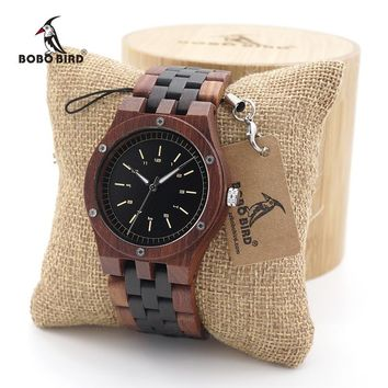 BOBO BIRD Unique Dial Natural Red Sandal Wooden Watches Men's Wristwatch With Date Create clock Gift In Wood Box saat erkek