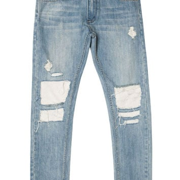 Light Blue Patched Distressed Skinny Denim Jeans