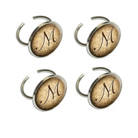 Letter M on Cork Design Napkin Ring Set