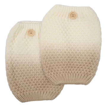 Women's Two Tone Beige / Ivory Ombre Button Boot Cuffs - Popcorn Pattern Knit Boot Sock Topper, gift, 2 Color Boot Cuffs