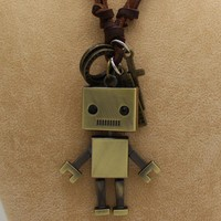 High Quality Fashion Long Necklace Real Leather Sweater Chain Robot For Women Men Pendant Necklace Jewelry