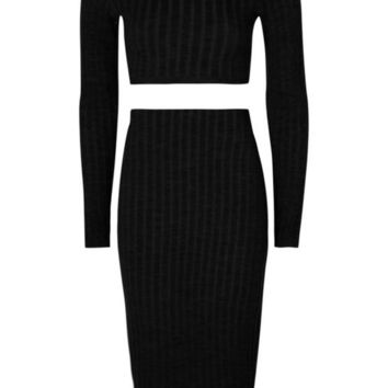 Milanna Rib Knit Turtle Neck Skirt Co-ord | Boohoo