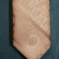 Derby Town Ties Dark Bronze Gold Colored Embroidered Patterened Mens Tie