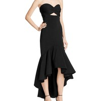JarloStrapless High/Low Flounce Gown