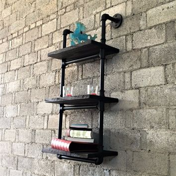 Juneau Industrial Wall Mounted Etagere Rack In Black Steel Combo With Dark Brown Stained Wood