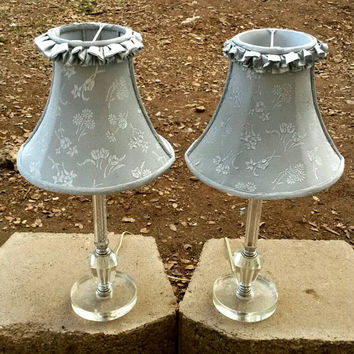 Pair of Glass Table Lamps Cut Chrystal Lighting Vintage End Table Lamps Nightstands Bedside Tables Shabby Chic Bedroom Living Room Furniture
