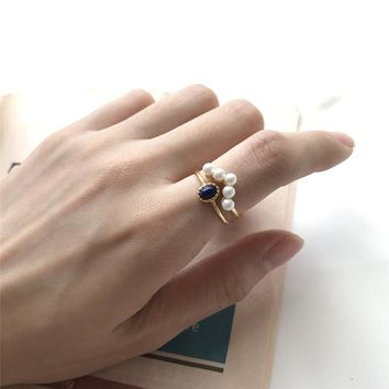 Pearl Ring Real 925 Silver Anillos Jewelry Vintage Party Gift Minimalism Haut Femme Bague Femme Aneis Joyas Punk Rings for Women