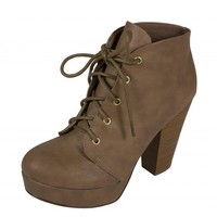 Soda Women's Agenda Lace Up Platform Ankle Bootie with Thick Heels in Taupe Leatherette