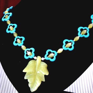 Leaf necklace, Gemstone Necklace, sterling silver, silver necklace, Jade Leaf, Magnesite, blue green necklace,Nature Inspired