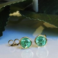 Green Emerald Studs Emerald Earrings Halo Earrings Green Earrings Genuine Emeralds Natural Green 18K Gold May Birthstone Valentines Gift