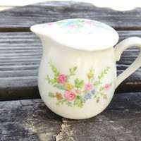 1980s Porcelain Creamer Hand-painted Vintage Floral for Doll Service or Individual Server Retro Victorian Style