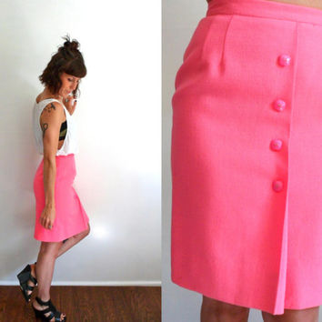 MOD Neon Hot Pink High Waisted Wool Skirt 26
