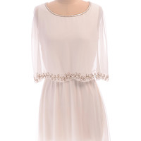 UK8 US4 Cream White Vintage inspired 1920s Flapper Romantic Great Gatsby Beaded Art Deco Wedding Bridesmaid  Prom Cape Dress Hand Made New