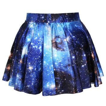 Universe Cosmic Galaxy Nebula Space Print Circle Skirt with Elastic Waist in Blue   DOTOLY