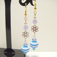 Light blue earrings, light blue long dangle earrings, beaded earrings, beaded dangle earrings, cool earrings, gift under 10, summer jewelry.