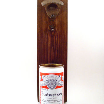 Vintage Budweiser Wall Mounted Bottle Opener With A Beer Can Cap Catcher - Birthday, Groomsmen, Or Housewarming Gift
