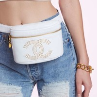 Vintage Chanel White Leather Belt Bag