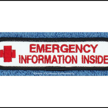 Emergency Information Inside Red Cross Service Dog Patch Size 1x4 inch Danny & LuAnns Embroidery