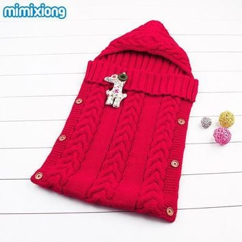Winter Thermal Sleepsacks For Baby Autumn Windproof Stroller Sleeping Bags Cotton Blend Knitting Newborn Boys Girls Wrap Blanket