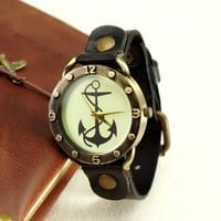 ZLYC Women Men's Leather Vintage Anchor Dial Wrist Watch Brown