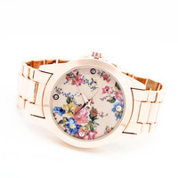 Flower metal watch (3 colors)