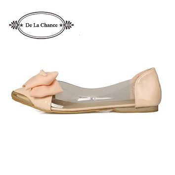 Women Flats Shoes Brand Ballet Flats Womens Pointed Toe Flats For Women Big Bow Tie Basic Girls Transparent Flats Size 33-40
