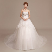 Stunning 2015 new super popular wedding bride wedding diamond lace bra tail wedding dress = 1929469892