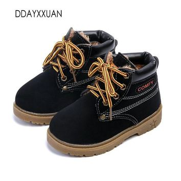 Hot Sale Childrens Boots Fashion Autumn Leather Boats Motorcycle Boys Girls Kids Casua
