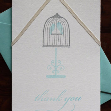 Wedding Thank You Birds Cards, Weddings Love Bird Card, Set of 10