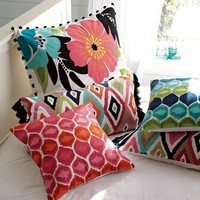 Tropical Garden Crewel Pillow Cover