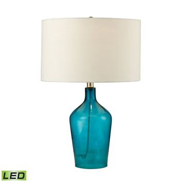 D2696-LED Hideaway Glass LED Table Lamp in Teal