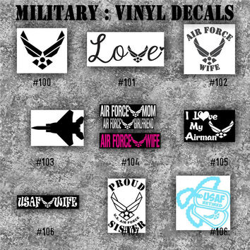 MILITARY vinyl decals - 100-108 - vinyl stickers - car window decal - personalized sticker - Army, Air Force, Navy and Marines
