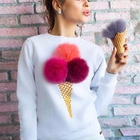 Women's Cute Long Sleeve Ice Cream Graphic Pompon Round Neck Sweatshirt - NOVASHE.com