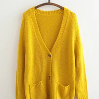 Double Pocket Buttoned V-Neck Knitted Cardigan