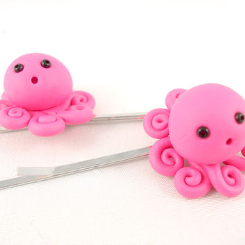 Hot Pink Tiny Cute Octopus Bobby Pins - Set of 2